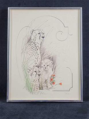 Lithograph of Mother Cheetah and Her Cubs by Tara
