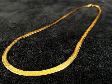 Vintage 14K 4mm Italy Herringbone Necklace