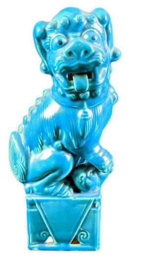 Vintage Chinese Ceramic Turquoise Foo Dog Figurine