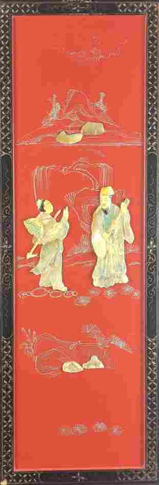 Vintage Chinese Mother Of Pearl Wall Panel Men Talking