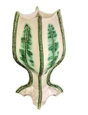 Small White & Green Handmade Flower Pot