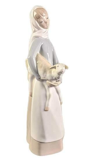 Retired Lladro Girl With Sheep Figurine