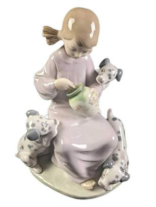Retired Lladro Honey Lickers Girl With Dogs With Box