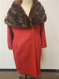 Hattie Carnegie Sable and Wool Coat