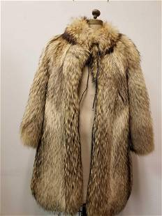 Tanuki Fur Coat with Leather Tie Front