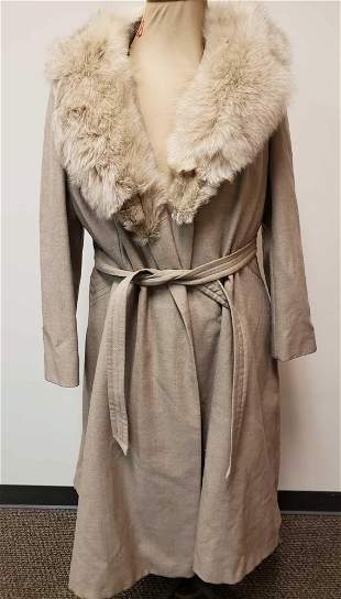 Lorendale All Pure Wool Coat with Fox Fur Collar