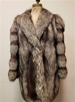 Vintage Midlength Silver Fox Coat by Romolo Scialla Fur