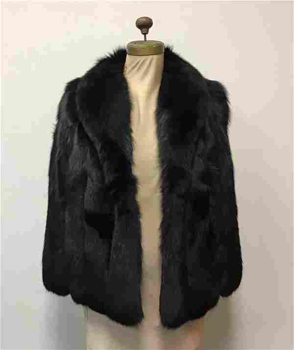 Black Fox Jacket Fur Coat Vintage Fashion Montaldo