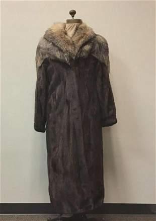 Mahogany Mink Coat with Crystal Fox Fur Coat