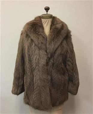 Feather Cut Brown Fox Fur Coat Vintage Fashion