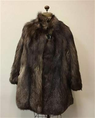 Frosted Brown Fox Fur Coat Button Vintage Fashion