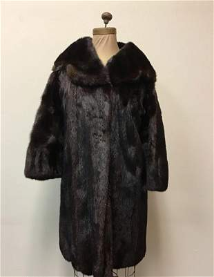 Dark Brown Elegant Ranch Mink Fur Coat