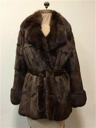 Brown Unique Squirrel Fox Trim Fur Coat