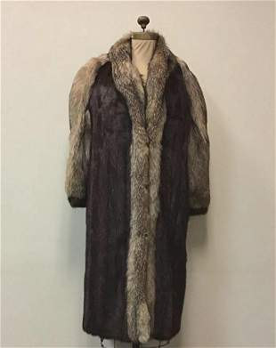 Mahogany Mink with Crystal Fox Fur Coat