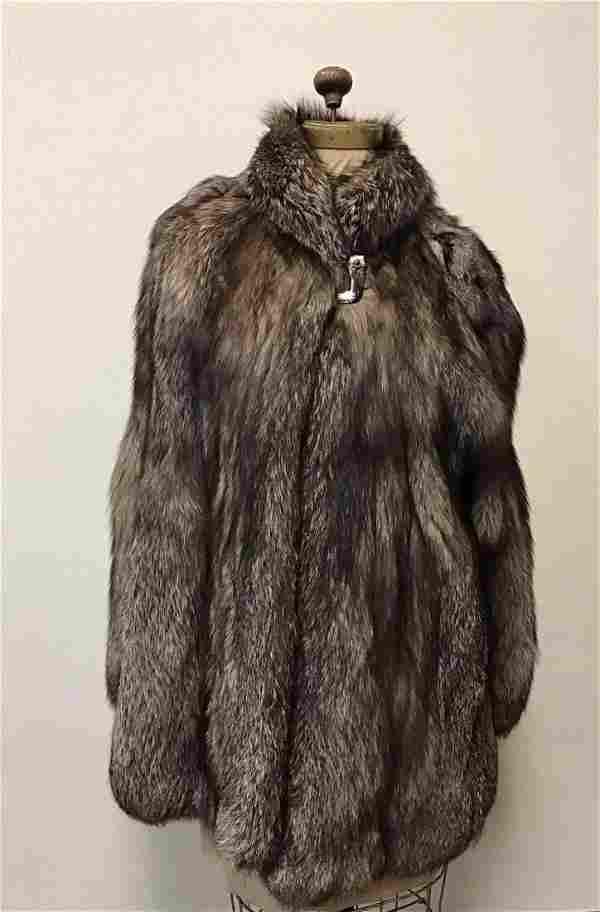 Indigo Fox Fur Button Coat