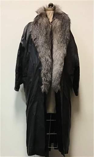 Black Leather Coat Indigo Fox Collar Fur Jacket
