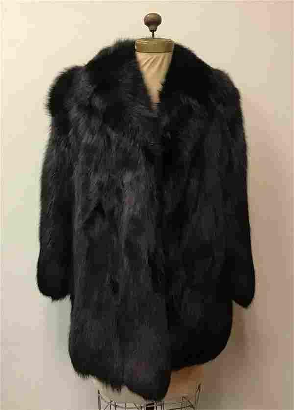 Black Fox Fur Jacket Coat Vintage Fashion