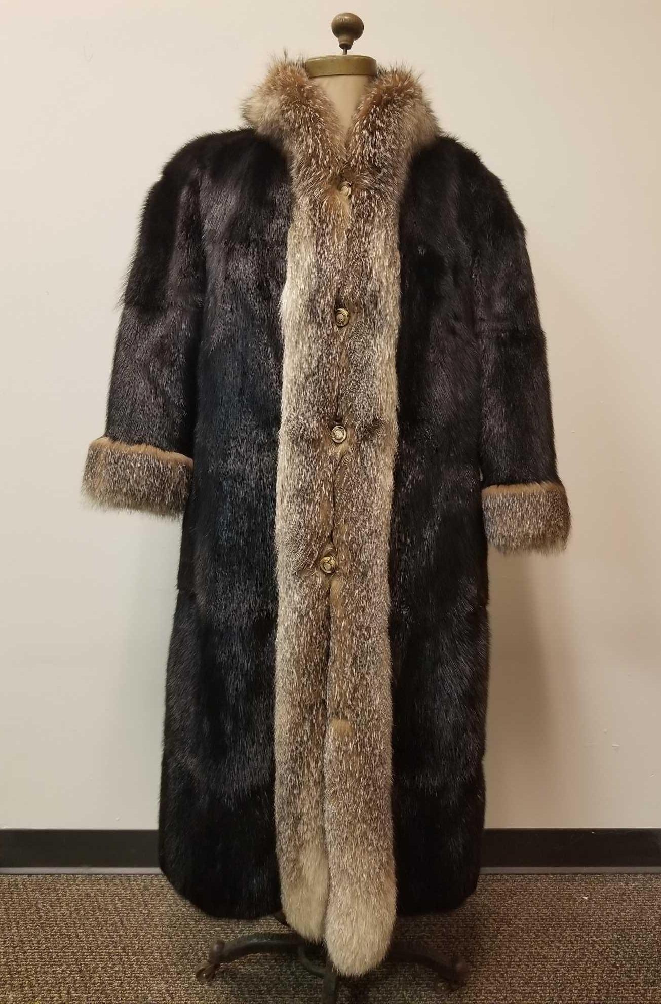 Long Mink Fur Coat with Fox Fur Trim