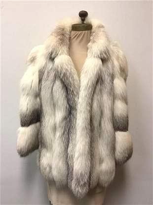 Black Shadow Fox Fur Coat Jacket Vintage Fashion