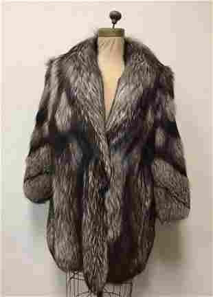 Silver Fox Fur Coat Jacket Vintage Fashion