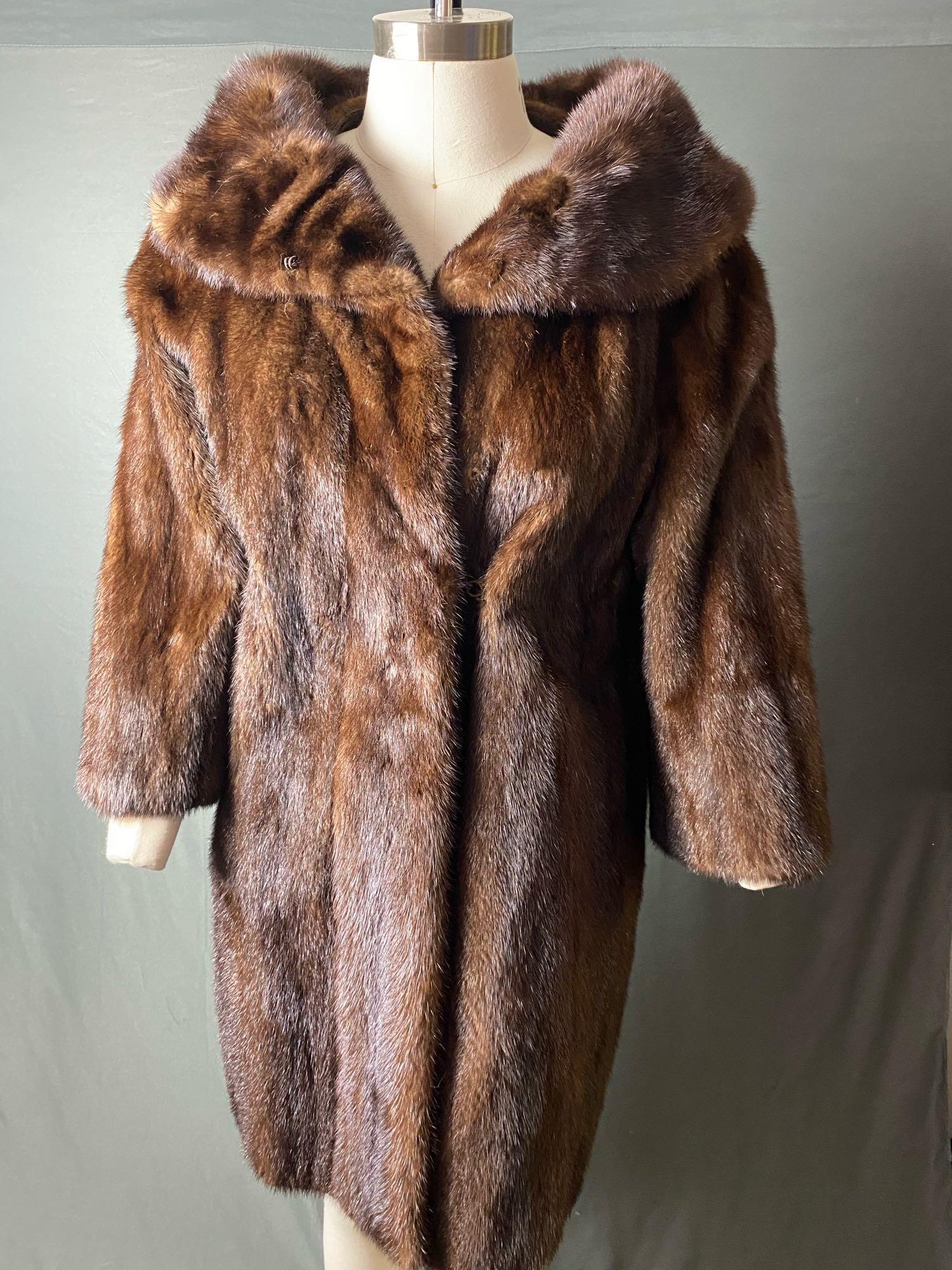 Vintage Authentic Dark Brown 3/4 Length Fur Coat