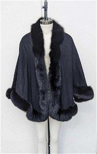 Fox Fur Trimmed Shawl