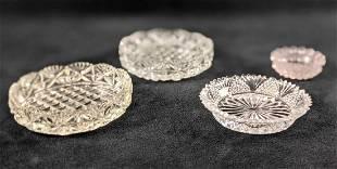 Four Vintage Glass Jewelry Plates