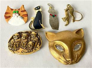 Vintage Lot Of 6 Fun Cat Pins / Brooches