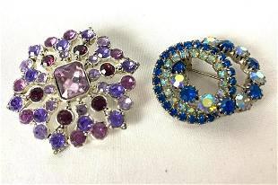 Vintage Liz Claiborne Blue & Purple Brooches
