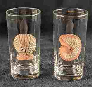 Mid Century Culver Seashell Drinking Glasses 22K Gold