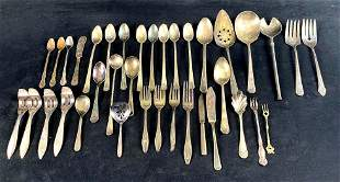 Vintage - Antique Mixed Lot Of 38 Pc Silver plated