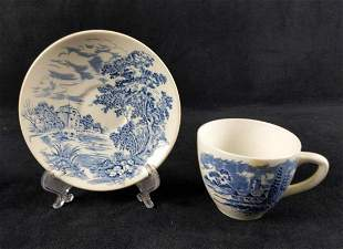 Vintage Wedgwood Countryside Blue Saucers And Cup