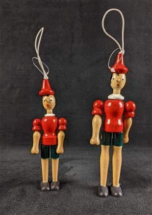 Vintage Italian Hand Painted Wooden Pinocchio Dolls