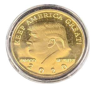Donald Trump Gold Plated Collectable Coin With Case