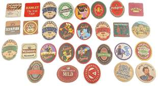 Thirty-Four Bar Coasters Different Beers and Bars