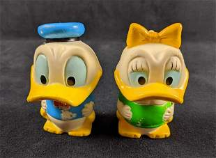 Vintage Disney Donald And Daisy Duck Rubber Bobbleheads
