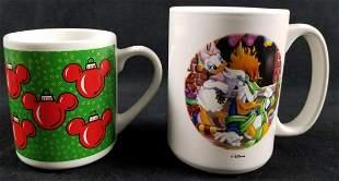 Two Christmas Disney Mugs Donald And Mickey