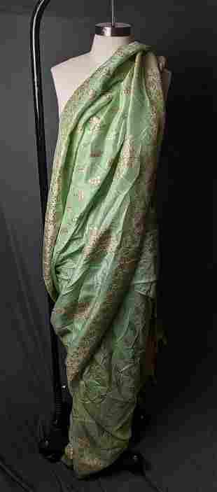 Traditional Indian Sari, Green and Gold