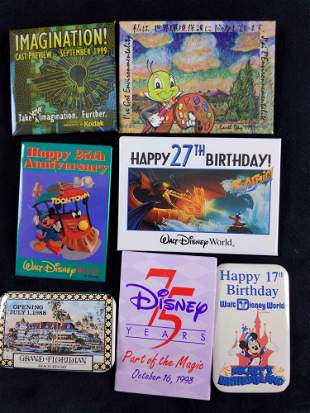 Lot of 7 Disney Square Rectangle Pins