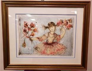 Edna Hibel Young Girl Framed Lithograph