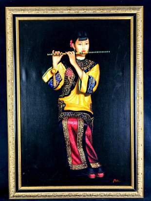 Chinese Woman Playing Flute Liu Chun Jian Canvas Print