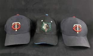 Minnesota Baseball Basketball Sports Caps Lot Of 3