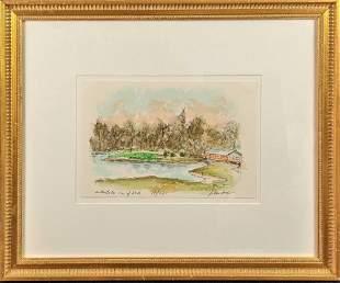 Framed Urbain Huchet Original Color LE Golf Lithograph