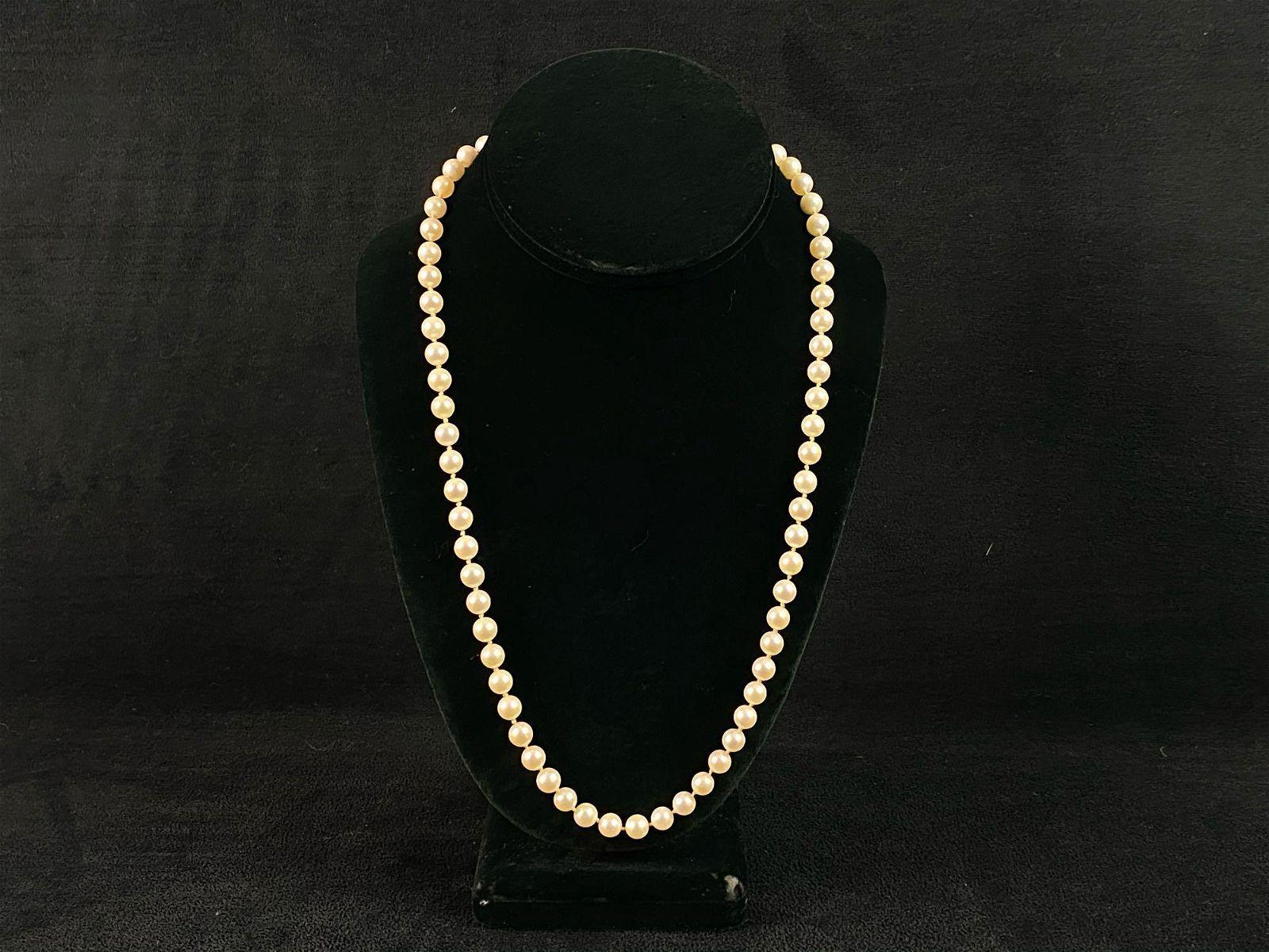 Fine Vintage 14K Hook Clasp 6mm Natural Cultured Pearl