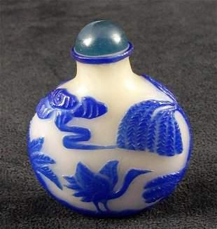 Chinese Blue Overlay White Jade Snuff Bottle