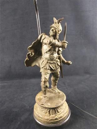 Antique Spelter Pot Metal Knight Warrior Lamp B