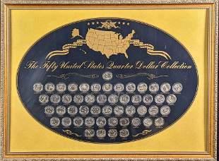 Framed 50 United States Quarter Dollar Collection