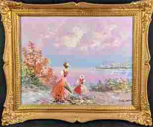 Framed Vintage Marie Charlot Oil On Canvas Girls By The