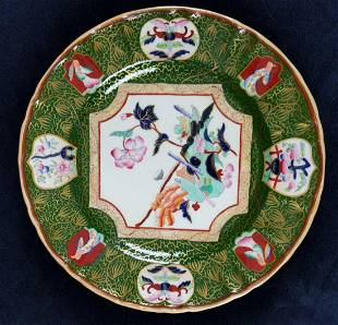 Antique Masons Stonewear Plate Floral And Kimonos
