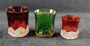 Antique Green Ruby Stained Clear Souvenir Glasses